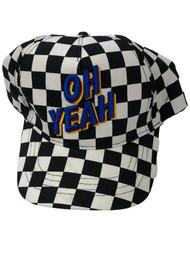 Boys Black & White Checked Oh Yeah Snap Back Baseball Cap Ball Hat