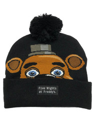 5 Nights At Freddys Adult Mens & Womens Black Freddie Beanie Stocking Cap Hat
