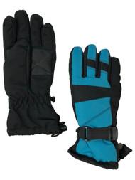 Girls Aqua Blue & Black Thinsulate Ski & Snow Winter Gloves