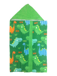 Celebrate Children's Green Dinosaur Hooded Beach Towel Wrap, Dino Cotton Bath