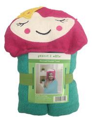 Peanut & Ollie Hooded Mermaid Bath Towel, Child Size Pink & Green Cotton Towel