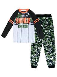 Boys Army Green Camo Snooze You Lose 2 Piece Pajama PJ Sleep Set XX-Large (18)