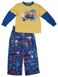 Boys Yellow & Blue Full Service Signage Print 2 Piece Pajama PJ Set XS (4/5)