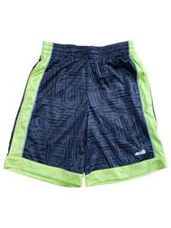 AVIA Boys Dark Grey & Neon Green Print Athletic Sport Gym Shorts Small (6/7)