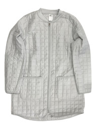 Womens Lightweight Gray Quilted Coat Long Insulated Athletic Jacket