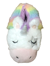 Womens Fuzzy Rainbow Unicorn Slippers House Shoes