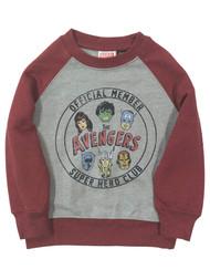 Avengers Toddler Boys Gray & Red Superhero Club Sweatshirt Sweat Shirt