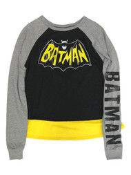 Batman Womens (Juniors) Gray & Yellow Mid-Crop Caped T-Shirt Tee Shirt