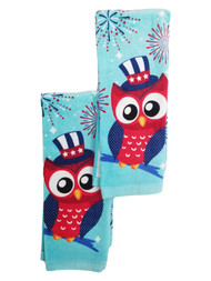 Americana Red White & Blue Owl Kitchen Towel, Set of 2 Dish Towels