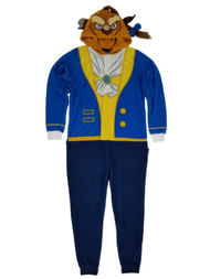 Beauty and the Beast Disney Mens Fleece Costume Union Suit Hooded Pajamas Small