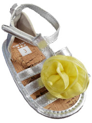 Carters Infant Girls Silver Strappy Sandals Yellow Flower Summer Shoes 4 (9-12M)