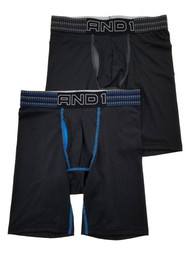 AND1 Mens 2-Pack Black Long Length Performance Underwear Boxer Briefs Small