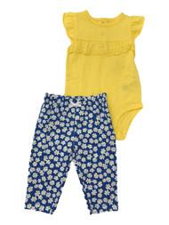 Carters Baby Girls Yellow Ruffle Bodysuit & Blue White Floral Leggings Set 6M