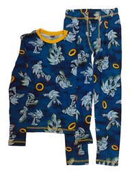 Boys Blue Sonic The Hedgehog Gold Ring Thermal Underwear Long Johns