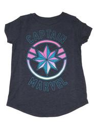 Captain Marvel Girls Navy Blue Glitter Short Sleeve T-Shirt Tee Shirt