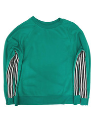 Avia Womens Green & Black Stripe Athletic Sweatshirt Sweat Shirt 3X (22)
