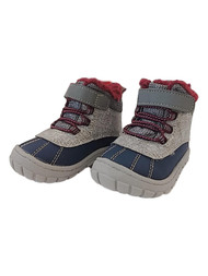 Toddler Boys Gray & Blue Faux Fur Lined Work & Hiking Boots Shoes