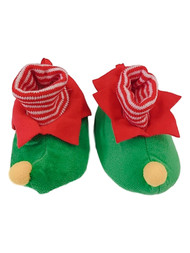 Infant & Toddler Boys Green & Red Elf Holiday Baby Slippers House Shoes