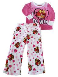 Angry Birds Girls Pink Red I Love to Win Fleece Pant Pajama PJ Sleep Set 4
