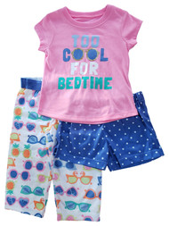 Carters Baby Girls Too Cool For Bedtime Pink 3 Piece Pajama PJ Set 12 Months