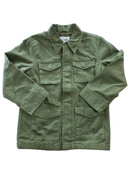Girls Army Green Zip & Snap Cotton Lined Long Sleeve Collared Jacket Coat