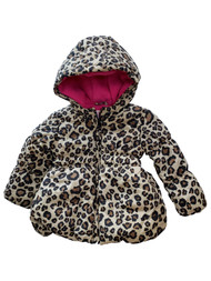 Infant Baby Girls Leopard Print Pink Fleece Lined Hooded Puffy Coat