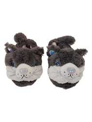 Girls Plush Gray Kitty Cat Reflective Heart Nose Slippers House Shoes