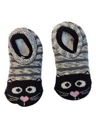 Toddler & Girls Gray Kitty Cat Fuzzy Gripper Sock Slipper House Shoes