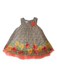 Infant & Baby Girls Brown Leopard & Floral Chiffon Halter Dress
