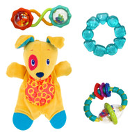 Bright Starts Bundle of Fun 4 Piece Toy Collection for Baby with Plush Puppy