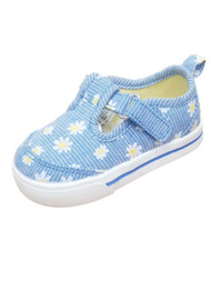 Infant Girls Blue Daisy Loafers Baby Shoes Mary Janes 5