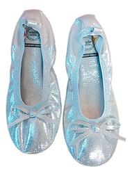 Girls Silver Glitter Scrunch Ballet Flats Casual Summer Shoes