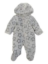 Infant Boys Gray Fleece Star Snowsuit Bunting Pram Snow Suit