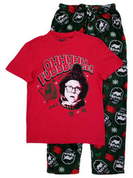 A Christmas Story Mens 2pc Red & Green Ralphie Oh Fudge Sleepwear Pajama Set M
