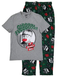 A Christmas Story Mens 2PC Gray & Green Ralphie Oh Fudge Sleepwear Pajama Set