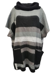 Women Black & Grey Color Block Poncho Style Cowl Neck Sweater One Size Fits Most
