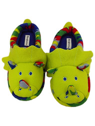 Dearfoams Boys Green Plush Triceratops Dinosaur Slippers House Shoes