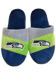 Mens Navy Blue Striped Seattle Seahawks NFL Football Slippers House Shoes