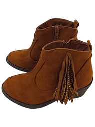 Girls Brown Fringe Gold Stud Zip-On Ankle Boots Tan Suede Crop Boots