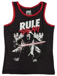Boys Black Star Wars Rule The Galaxy Muscle Tank Top T-Shirt Tee Shirt XL
