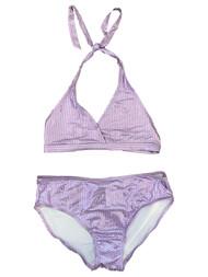 Girls Lavender Purple Shimmer Smooth Sequin 2 Piece Swimsuit Swimwear XL