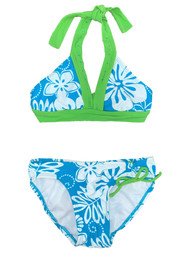 Girls Blue & White Floral Green Trim Rhinestone 2 Piece Swimsuit Swimwear