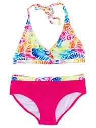 Girls Rainbow Tribal Print 2 Piece Bathing Suit Swim Set Swimwear XL