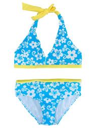 Girls Blue & White Floral Yellow Trim 2 Piece Bathing Suit Swim Set Swimwear