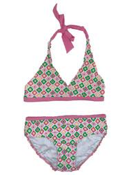 Circo Girls Pink & Green Flower 2 Piece Bathing Suit Swim Set UPF 50 Swimwear