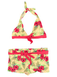 Girls Yellow & Red Tropical Floral 2 Piece Short & Halter Swimsuit Swimwear