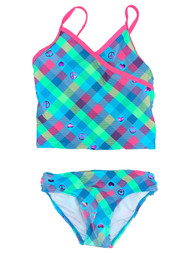 Girls Blue Pink & Green Checkered Tankini Hearts 2 Piece Swimsuit Swimwear