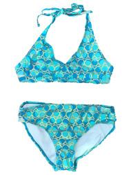 Girls Teal Blue & Blue Dot Gold Sequin Circles 2 Piece Swimsuit Swimwear