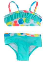 Infant & Baby Girls Aqua Mint & Yellow Pink Dot Ruffle 2pc Swim Suit