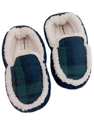 Toddler Boys Blue & Green Faux Fur Plaid Slippers Memory Foam House Shoes